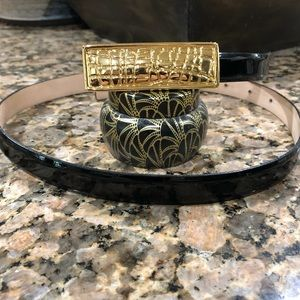 NWOT St. John Black Patent Belt With Gold Buckle